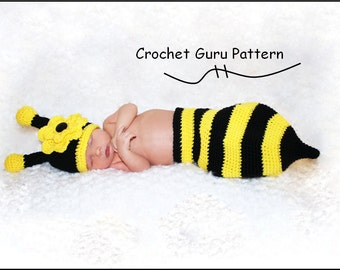Crochet Pattern - Crochet Baby Hat - Diaper Cover Pattern - Bumble Bee Pattern - Baby Photo Prop - Instant Download