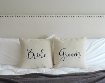 Bride Groom Wedding Gift - Bride and Groom Pillow Cover - Wedding Pillow - Wedding Pillow Cases - Personalized Couple - Pillow Covers