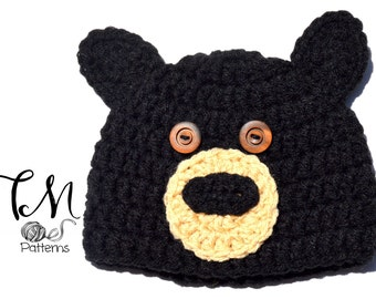 CROCHET PATTERN Baby Hat, Black Bear Pattern, Crochet Baby Pattern, Hat Pattern, Bear Ears Hat Pattern, Baby Boy Crochet Pattern, Toddler