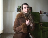 Vintage 70s Almost Famous Shaggy Groovy Chocolate Brown Long Maxi Suede Penny Lane Sherpa Faux Sheepskin Collar Insulated Winter Jacket Coat
