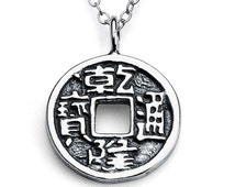 Lucky Chinese Feng Shui Coin Spiritual Double Sided Charm Pendant Necklace #925 Sterling Silver #Azaggi N0046S