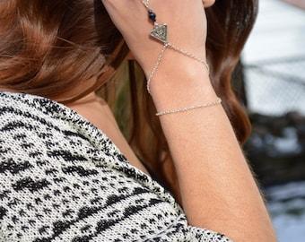 Hand Chain // Slave Bracelet // Bohemian Hand Jewelry // Boho // Silver Bracelet