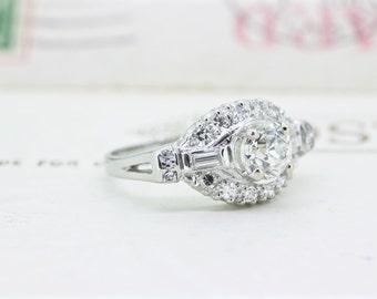 Art Deco Engagement Ring | Platinum Ring | Antique Wedding Ring | Vintage Diamond Wedding Ring | 1930s Engagement Ring | Size 5.5