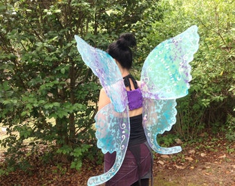 OOAK Fantasy Sparkle Wings  Adult XL Blues