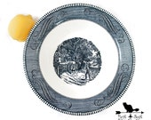 """Vintage Currier & Ives Large Blue Serving Bowl """"Home Sweet Home"""" Collectible Transferware, Shabby Tableware"""