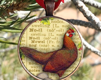 Twelve Days of Christmas Three French Hens Christmas Ornament Glass set in a 30mm Copper Finish Pendant Tray With Ribbon