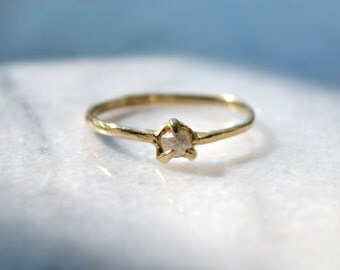 Sparrow // raw diamond solitaire ring, size 5.5