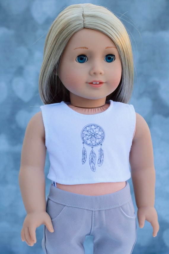 American Made Doll Clothes | Dreamcatcher CROP TANK TOP for 18 inch doll such as American Girl Doll