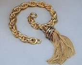 Vintage WHITING DAVIS Tassel Bracelet Thick ROPE Chain Braided Strands Victorian Revival
