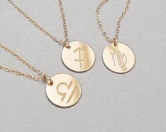 Réversible personnalisé Zodiac - Message Secret Collier - Collier à breloques - 14k or Fill ou Sterling Silver - ND01-G/S