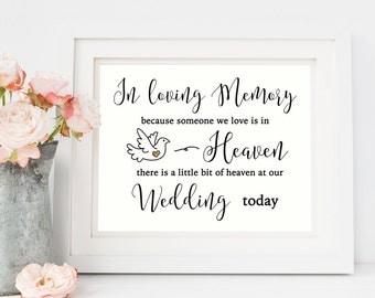 In Loving Memory Sign/ Wedding Memorial Sign/ Wedding Signs/ Wedding Memorial Printable/ Wedding Memory Sign/ Wedding Signage