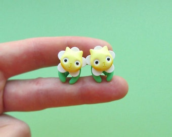 Yellow camomile flower | camomile jewelery | camomile stud | camomile cat | camomile flower | camomile cat flower |