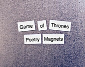 Game of Thrones Refrigerator Magnets, GoT Poetry Word Magnets, Free Gift Wrap, Magnetic Poetry