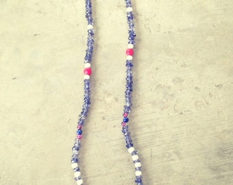 Necklace with a pendant and beads of agathe, silver and semi precious beads