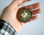 Wildflower Necklace - Hand Embroidered Floral Pendant - Custom Hoop Art Jewelry - Sterling Silver - Modern Embroidery - Handmade Jewelry
