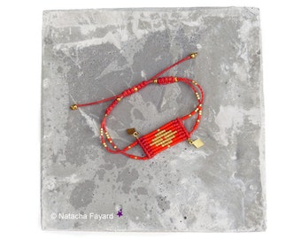 bright red and gold woven micro macrame and miyuki delica seed beads bracelet - Graphic diamond patterns - Designer jewelry boho style