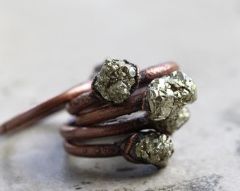 Pyrite Ring Electroformed Copper Ring Stone Ring Rustic Gemstone Mixed Metal Ring Raw Fools Gold