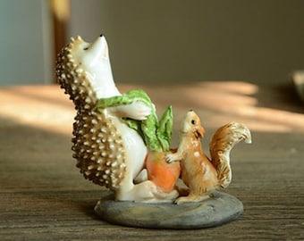 Medium Harvest Carrots Hedgehog Fairy Garden Terrarium Accessories Miniature Woodland Accessory Decoration Large Status