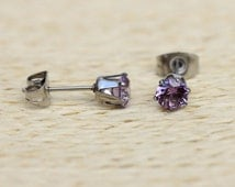 Lab Alexandrite and surgical steel stud earrings in either 3mm, 4mm, 5mm or 6mm sizes