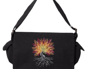 Nocturnus - Tree Embroidered Canvas Cotton Messenger Bag