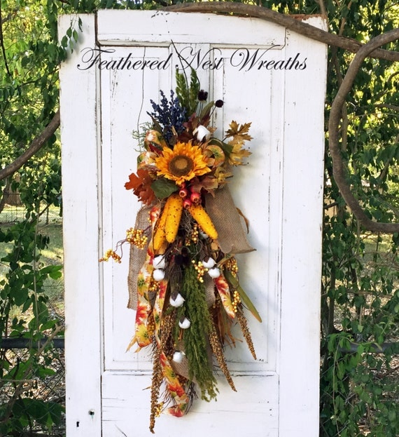 Fall Door Swags: Fall Swag Door Swag Fall Door Wreath By FeatheredNestWreaths