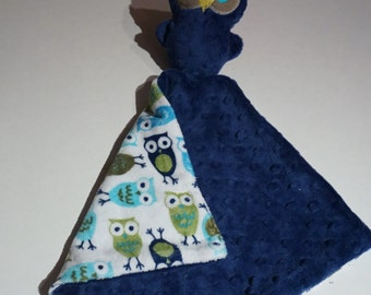 Owl security blanket- Minky Lovie-  Lovey-baby shower gift- royal blue owl luvie- Baby gift, Ready to ship