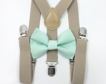FREE DOMESTIC SHIPPING! Tan suspenders Suspenders + Mint green bow tie kids children toddler boy boys teens adult wedding pictures birthday