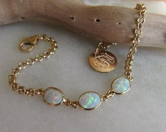 Opal Bracelet, October Birthstone, Fire Opal Bracelet, Gilson White Opal, Gold Bezel Setting,Bridesmaid Gift,Opal Jewelry,Gold Link Bracelet
