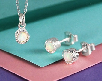 Opal Jewelry Set, Silver Earrings Necklace Set, Gemstone Studs, Birthstone Jewelry, Opal Necklace, Opal Earring, October Birthstone Gift Set
