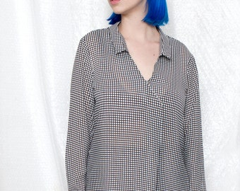 40% off v neck shirt, black and white shirt, black and white checkered shirt, womens blouses,flowy top, womens shirts, flowy shirt
