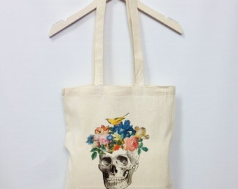 Skull Flowers Tote Bag Bird Cotton Canvas Shopper Bag