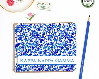 Kappa Kappa Gamma KKG | Set of 8 Folded Notes with Envelopes | Sorority Big Little Reveal Gift | Blue | KKG-SA2
