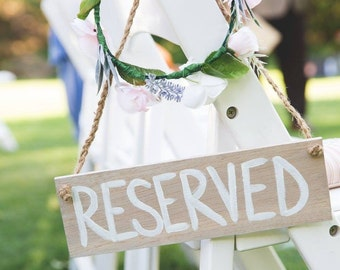 """Rustic Wood """"Reserved"""" Sign with Optional Floral Ring"""
