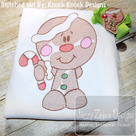 Gingerbread Boy 92 Sketch Embroidery Design - Christmas Sketch Embroidery Design - ginger bread Sketch Embroidery Design