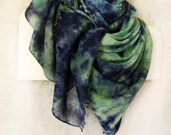 Hand painted cotton scarf Large blue green shawl Shibori hand dyed long fringe colorful scarf wrap Bohemian Festival Boho scarf