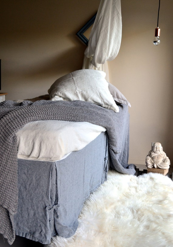 Fossil Grey Waffle Textured Linen Quilt By