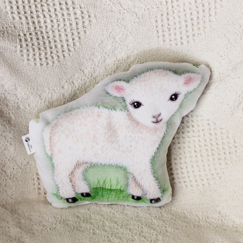Animal pillow. Lamb nursery pillow. Organic cotton. Lamb baby