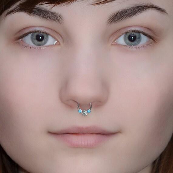 Silver Flower Septum Ring Turquoise - Septum Piercing 16 gauge - Nose Ring Hoop - Tragus Jewelry - Daith Piercing - Forward Helix Earring