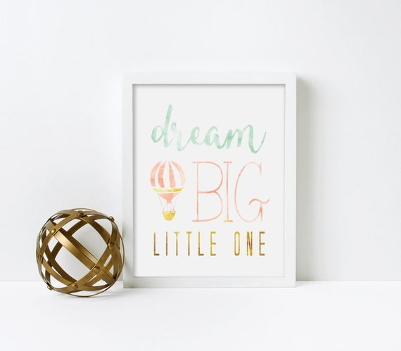 Nursery Art, Dream Big Little One, Hot Air Balloon, Water Color, Framed, Canvas, Art Print #377