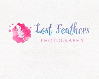 Watercolor feather logo design , photography branding, custom business branding