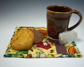 Pottery Mug & Matching Mug Rug | Caramel Mug | Coffee Mug | Tea Cup | Mug Rug | Ceramic Coffee Cup | Mug and Coaster | Coffee lovers gift