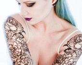 Classical Rose Temporary Tattoo Sleeve Set