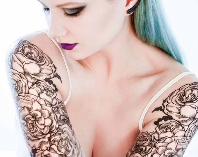 Featured listing image: Classical Rose Temporary Tattoo Sleeve Set