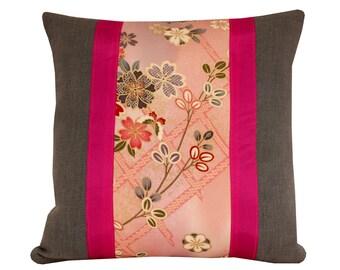 Oriental Cushion Cover, Teal linen cushion, kimono cushion, Japanese  pillow 16x16 inches