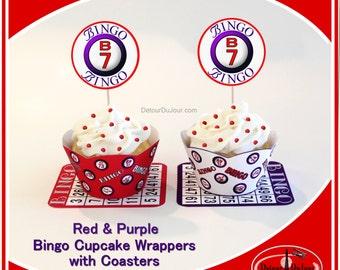 Bingo Cupcake Wrappers, Red Purple Cupcake Wraps, Red Hat Society Party Cupcake Wraps, Bingo Party Decorations