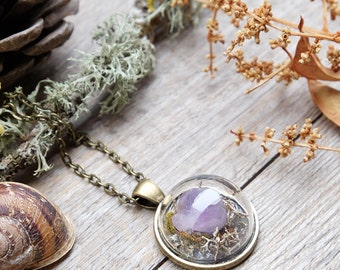 Terrarium crystal amethyst necklace, crystal pendant necklace, raw amethyst,terrarium jewelry,gift for woman,botanical jewelry,boho necklace