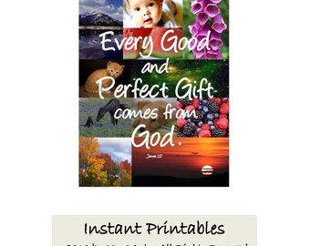Bible Verse Scripture INSTANT DOWNLOAD Girls Bedroom Every good perfect gift comes from God wall decor Christian art print James 1:17