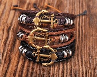 Anchor Bracelet, Mens Anchor Bracelet, Nautical Bracelet, Adjustable Leather Bracelet, Mens Gift, Anchor Braclet,   JLA-49