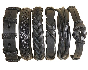 Six Individual Black Leather Bracelets For One Low Price, Great Gifts 6P-527