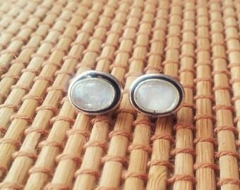 Moonstone Stud Earring Silver Stud Earring Stone Stud Gemstone Stud 8mm Minimal Stud Earring Gift